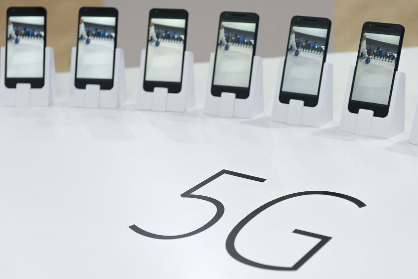 Mobile phones with 5G are displayed at the Mobile World Congress in Barcelona in February.