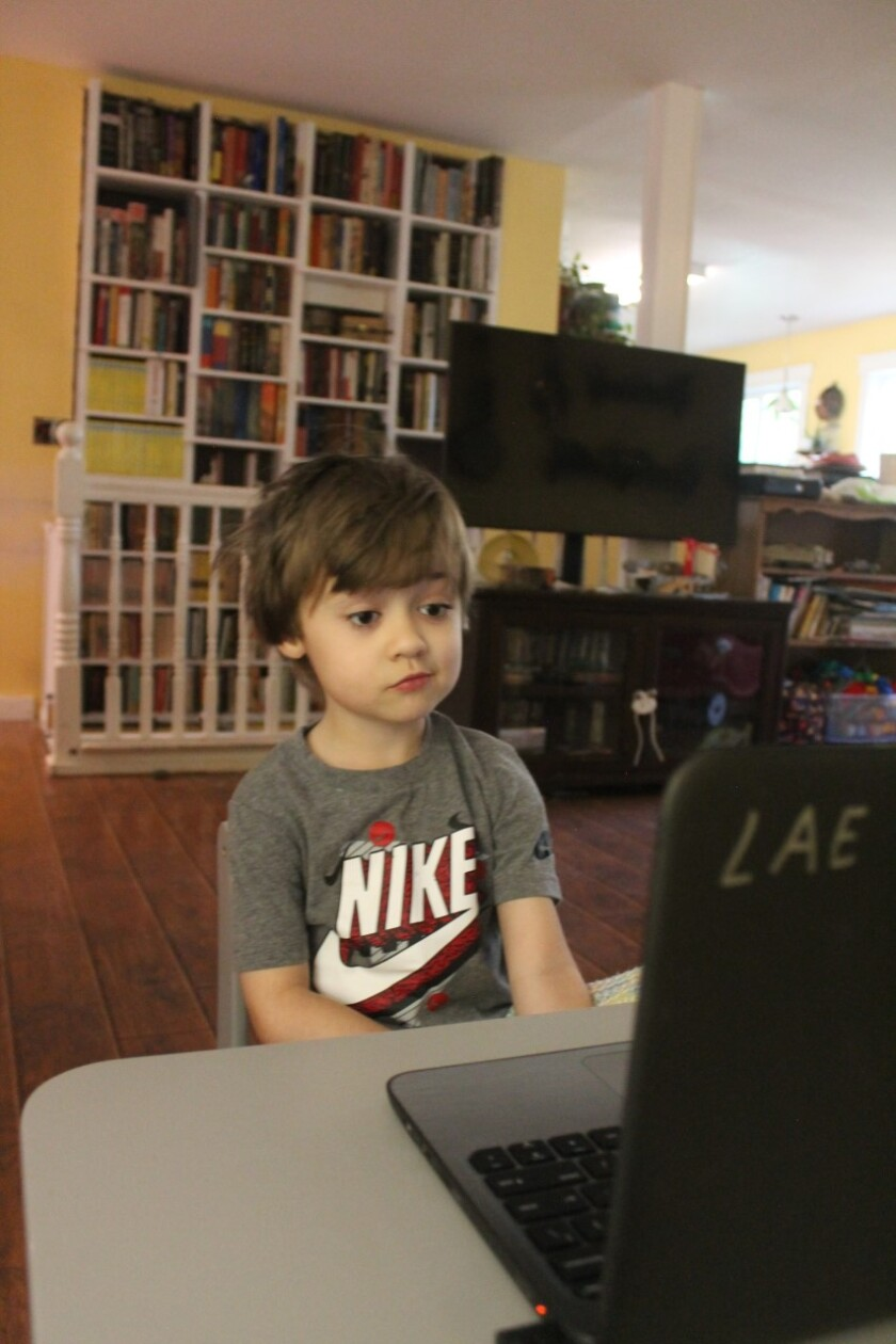 A young boy sits in front of a laptop set up on a desk