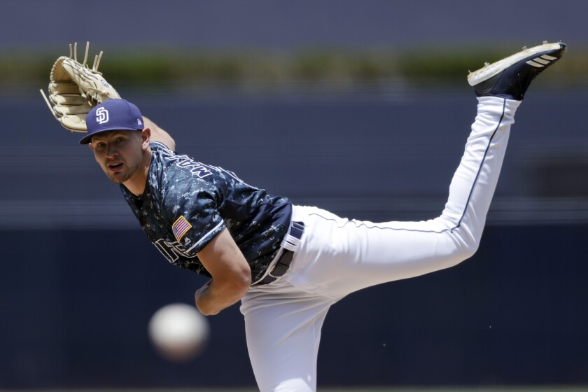 Padres starting pitcher Nick Margevicius works against a Los Angeles Dodgers batter during the first inning of a game Sunday, May 5, in San Diego.