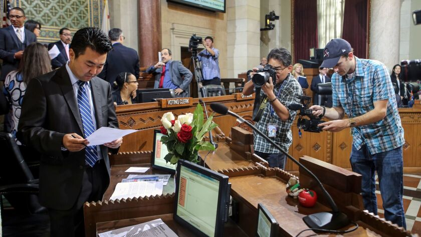 Councilman David Ryu, who hopes to ban city candidates from taking campaign money from businesses, labor unions and other groups, is seen at City Hall in 2015.