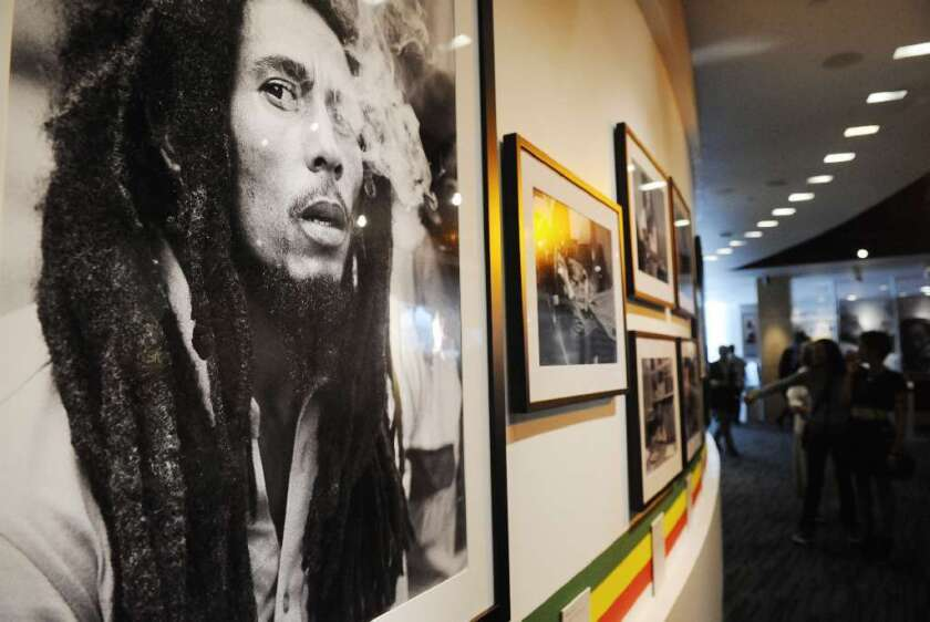 A photo of Bob Marley at the Grammy Museum in Los Angeles