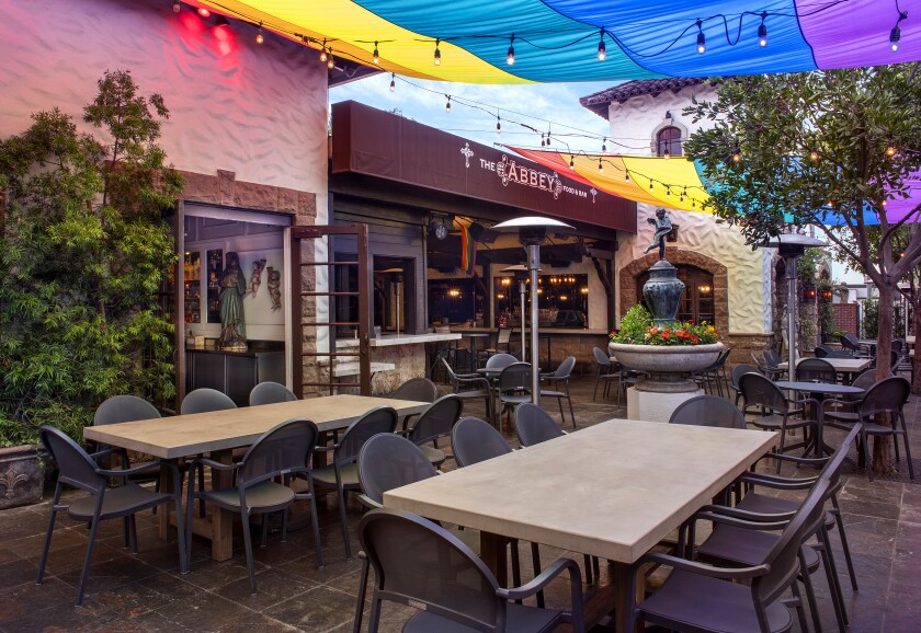 A photo of the Abbey patio in West Hollywood.