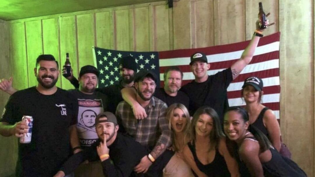 Jasmin Alexander, 25, far right in shorts, celebrates with friends at Borderline Bar and Grill the n