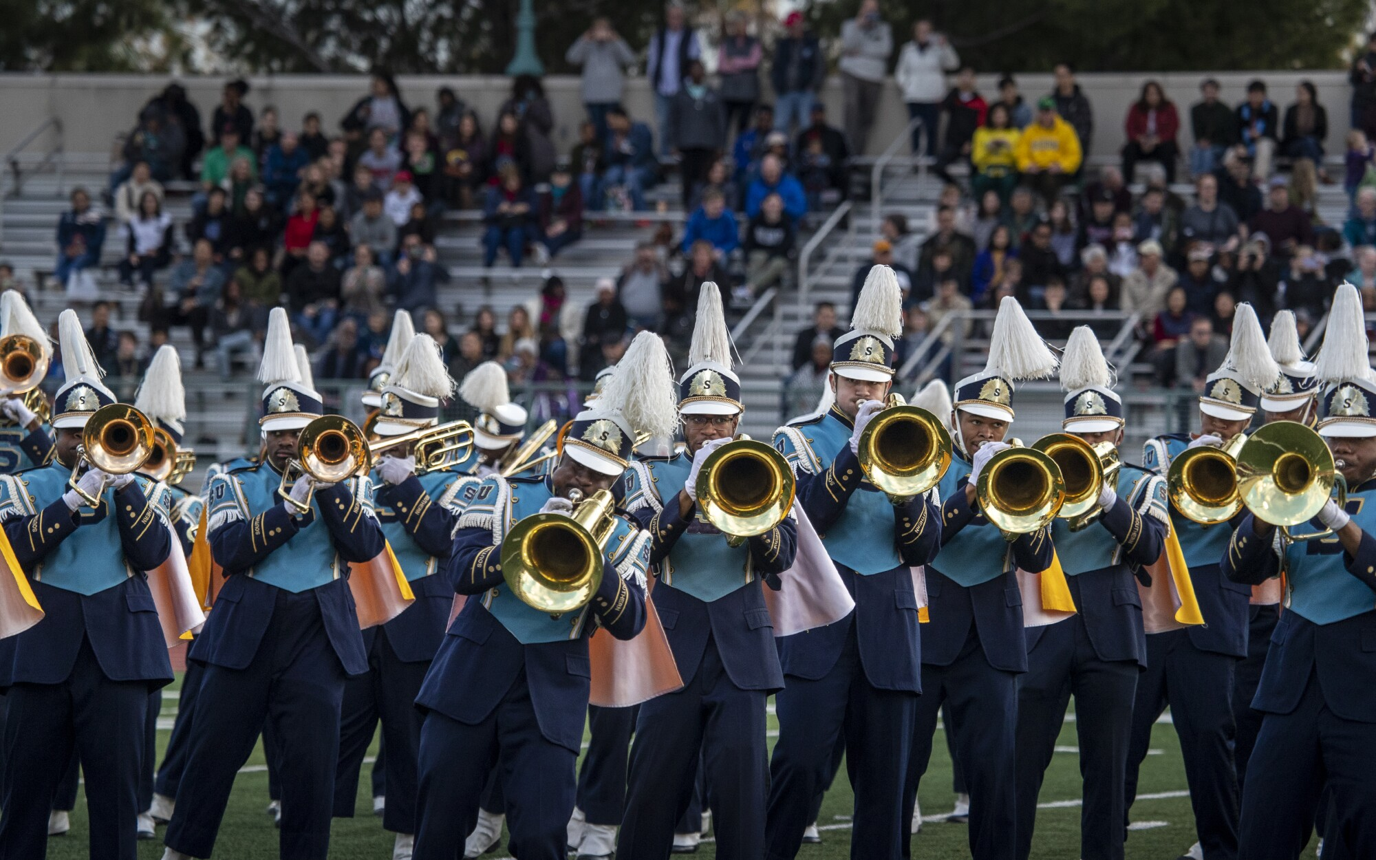 """The Southern University Band, known as the """"Human Jukebox,"""" performs Monday during Bandfest at Pasadena City College's Robinson Stadium."""