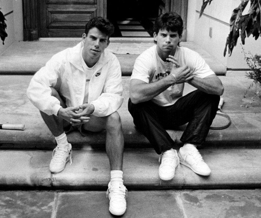 Menendez brothers, Erik, left, and Lyle on the steps of their Beverly Hills home in November 1989.