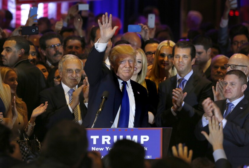 Republican presidential candidate Donald Trump speaks after winning the New York primary Tuesday.