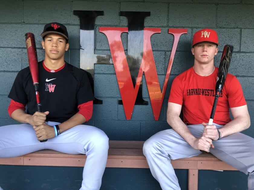 Harvard-Westlake's impressive one-two hitting duo of Drew Bowser, left, and Pete Crow-Armstrong could remind people of the time when Chatsworth featured Mike Moustakas and Matt Dominguez.