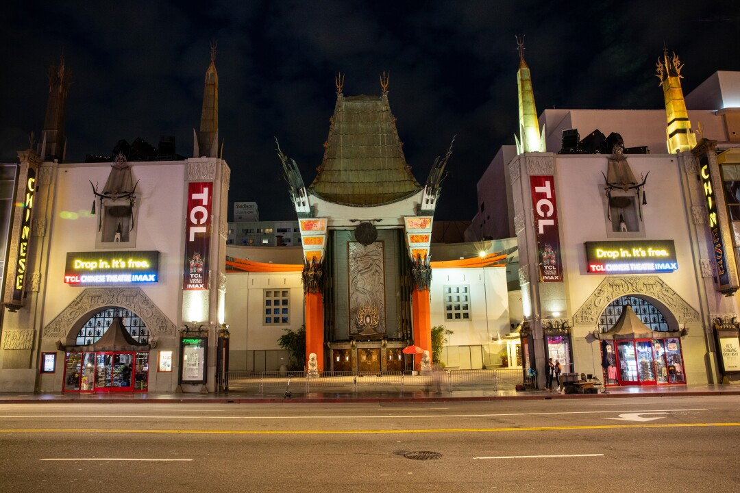Hollywood Boulevard is empty in front of the TCL Chinese Theatre on Friday night.