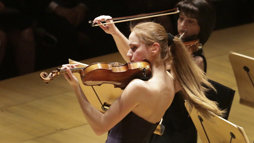 Anush Nikoghosyan's hair gets into the act during her violin solo with the Armenian National Philharmonic Orchestra at Disney.