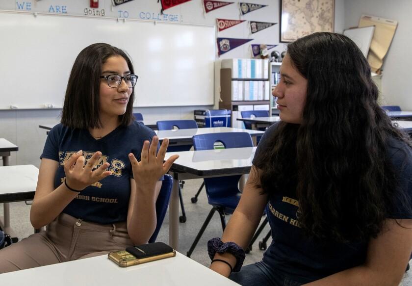DOWNEY, CALIF. -- WEDNESDAY, MAY 15, 2019: Warren High School student Mehraeel Gouda, left, who ca