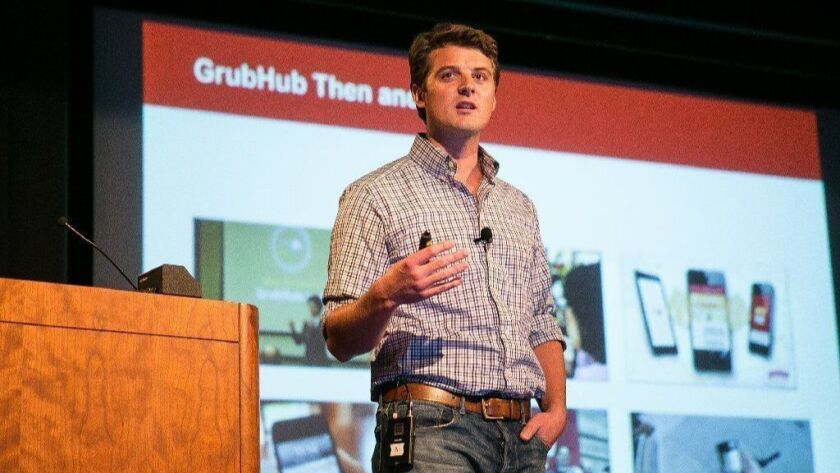 Grubhub CEO Matt Maloney speaks at a 2015 Technori Pitch event in the Loop. His Chicago-based company had $237 million in revenues in the second quarter, up 51 percent from the same period last year.