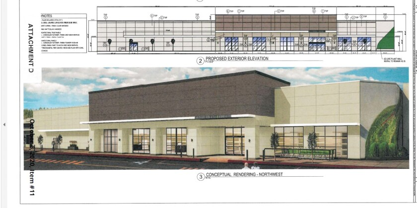 An artist's rendition of how the remodeled exterior will look.