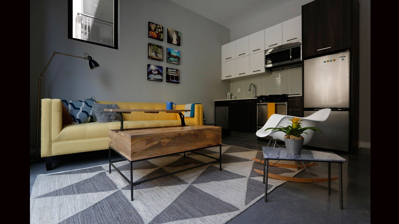 With just 350 square feet to work with, Kyle Schuneman selected furniture and decor that would keep the space feeling open and harmonious.