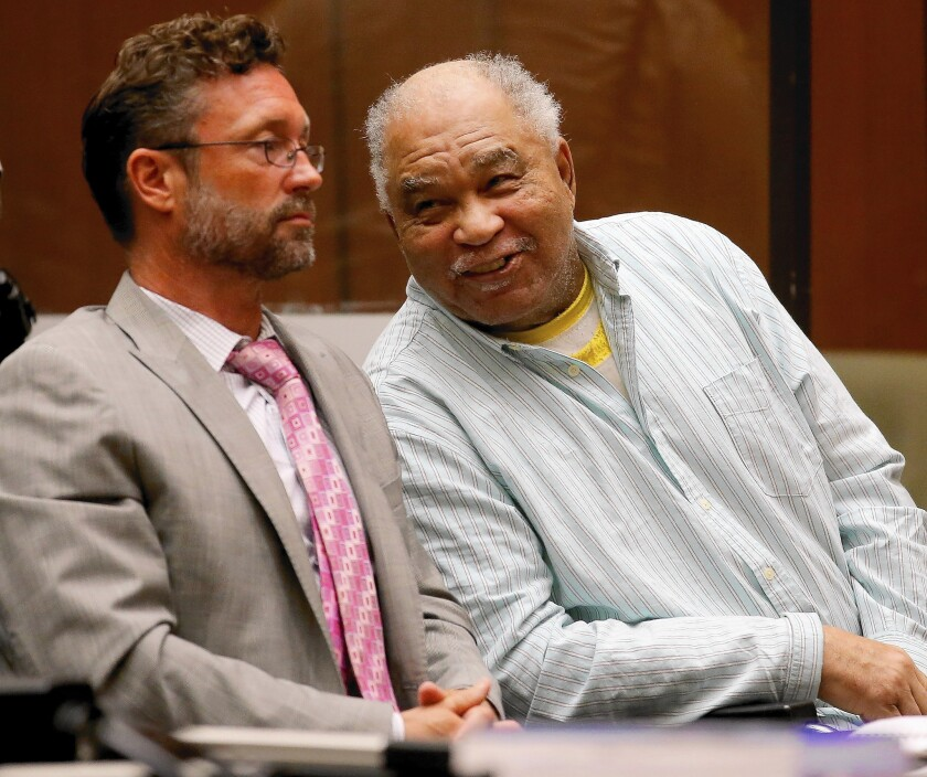 Samuel Little, right, was convicted Tuesday in the deaths of three women in South Los Angeles in the late 1980s. Police say he could be responsible for other killings across the country.