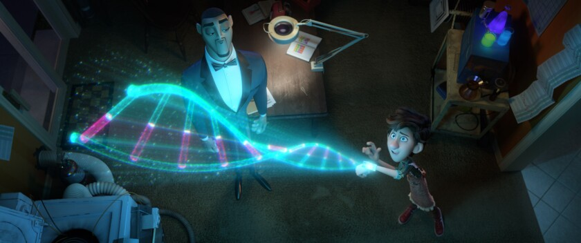 """A holographic double helix emanates from a device on Walter's wrist as Lance looks on in """"Spies in Disguise."""""""