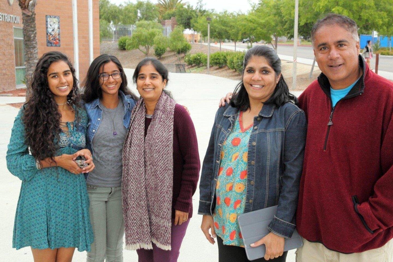 Tanvi, Arshvi, and Brinda Shah with Santos and Sanjay Nichani