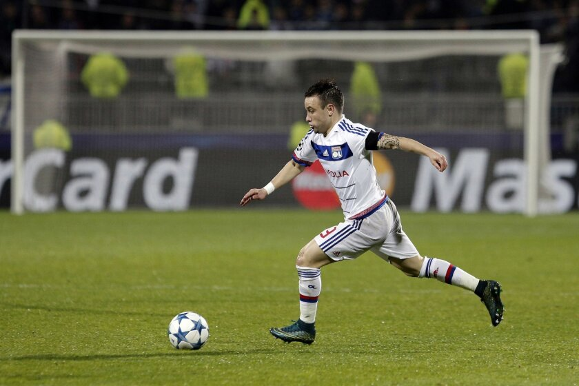 Lyon's Mathieu Valbuena controls the ball during the Champions League Group H soccer match between Lyon and Zenit St Petersburg at the Gerland stadium in Lyon, central France, Wednesday, Nov. 4, 2015. (AP Photo/Laurent Cipriani)