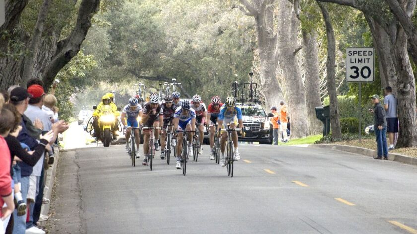 The Amgen Tour of California peloton makes its way through La Cañada on Feb. 21, 2009, here near the corner of Bershire Avenue and Woodleigh Lane.