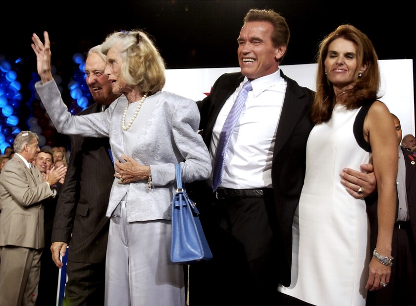 Arnold Schwarzenegger with wife Maria Shriver and her parents at his victory party on Oct. 7, 2003.