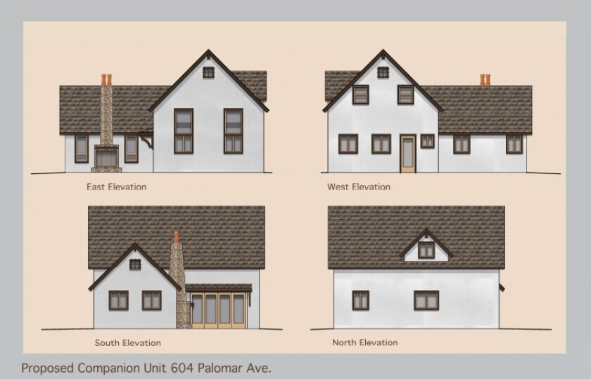 Renderings of a new two-story 1,067 square-foot companion unit to be built behind 604 Palomar Ave.