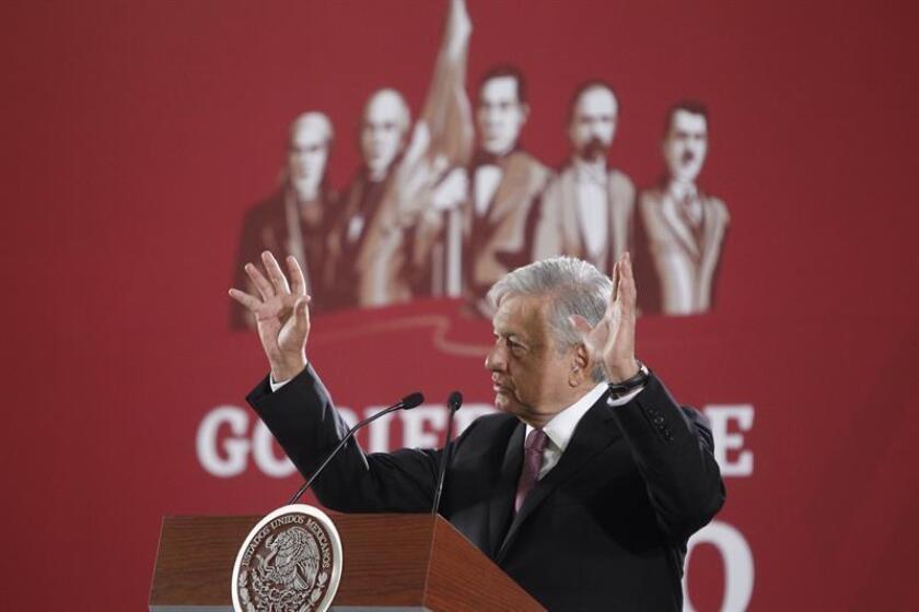 El presidente de México, Andrés Manuel López Obrador, habla durante una rueda de prensa. EFE/Archivo