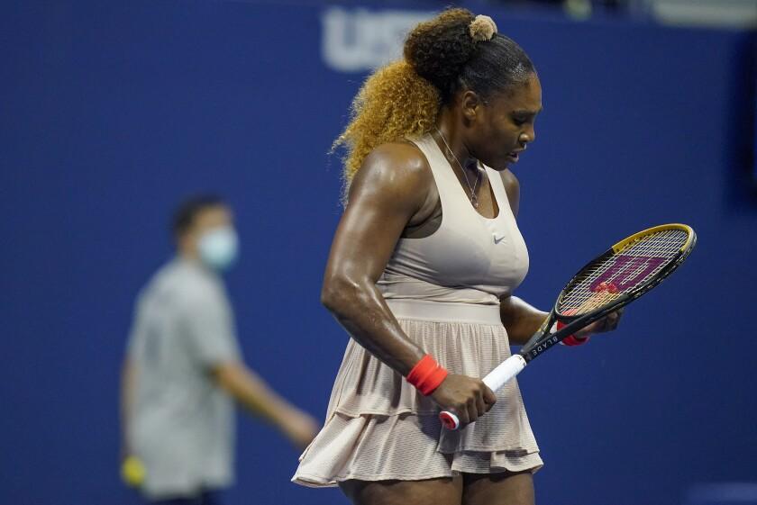 Serena Williams reacts during the second set against Victoria Azarenka.