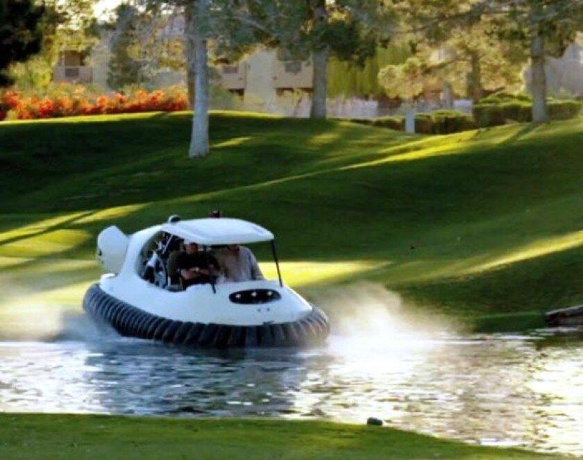 Bubba Watson's hovercraft golf cart can drive through water hazards.