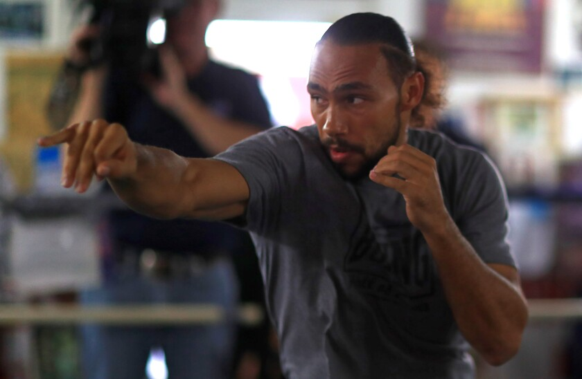 Keith Thurman works out for members of the media ahead of his fight against Manny Pacquiao.