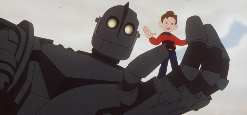 """The Iron Giant and Hogart in """"The Iron Giant."""""""