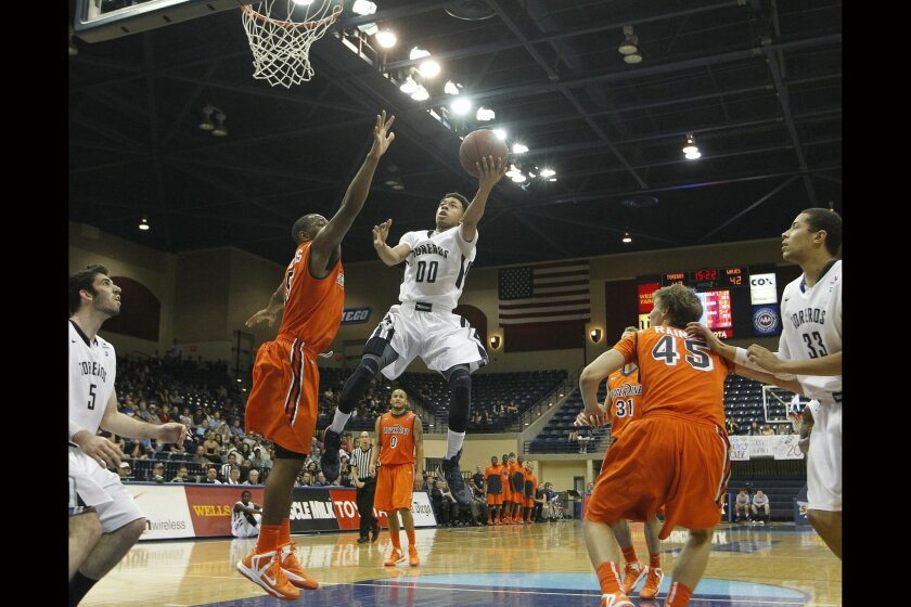 USD's Christopher Anderson goes up for a score.