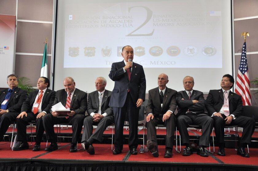 Tijuana Mayor Carlos Bustamante speaks during the Thursday conference. / Photo by Ayuntamiento de Tijuana