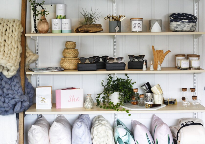 Sophie Machado opened Salt Culture, a new boutique in Encinitas. Sophie's husband is world-famous surfer Rob Machado and the store's clothing and home decor items are inspired by the couple's international travels. (K.C. Alfred/Union-Tribune)