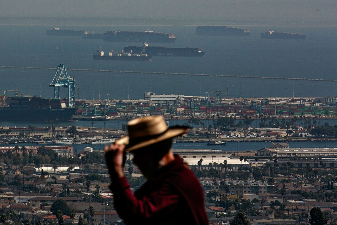 Cargo ships wait to enter the port on Wednesday in San Pedro,