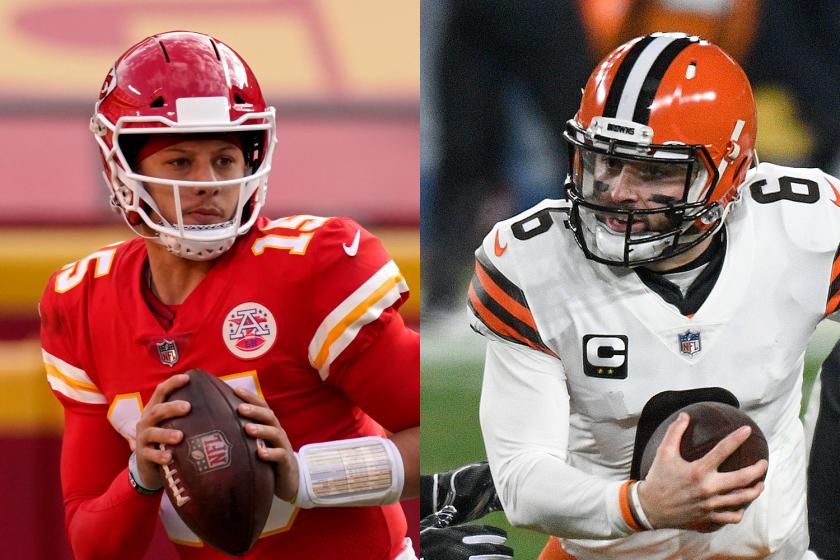 Kansas City Chiefs quarterback Patrick Mahomes, left, and Cleveland Browns quarterback Baker Mayfield.