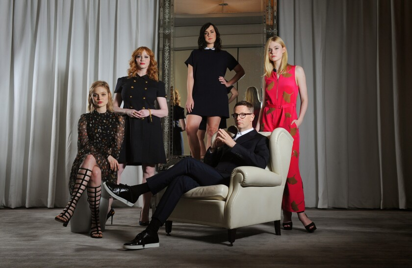 "Bella Heathcote, left, Christina Hendricks, Jena Malone, director Nicolas Winding Refn and Elle Fanning of ""The Neon Demon."""