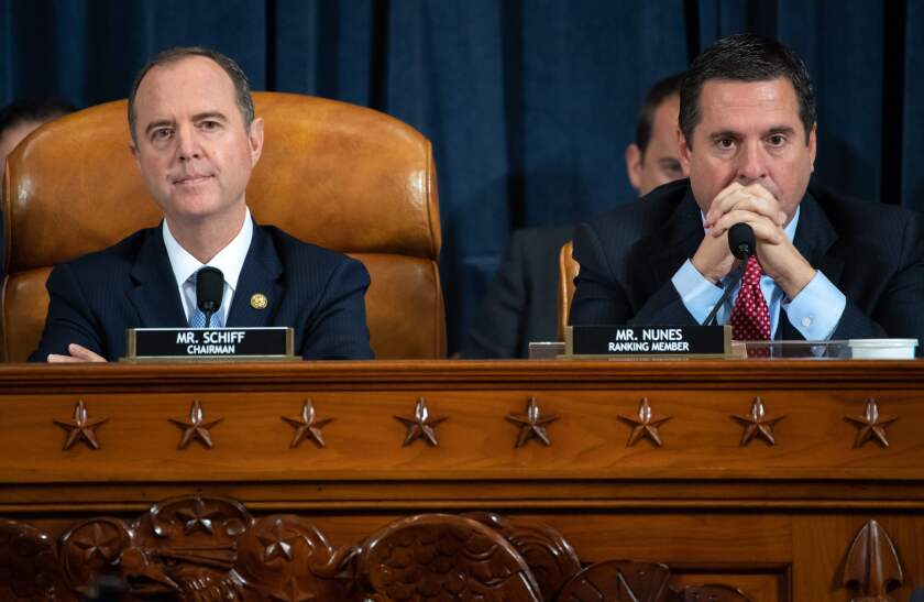House Intelligence Committee Chairman Adam B. Schiff (D-Burbank) and ranking Republican Rep. Devin Nunes (R-Tulare), during the first public impeachment hearings.