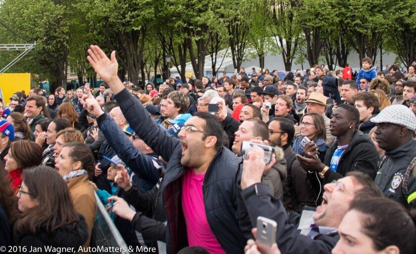 Enthusiastic Formula E fans in Paris