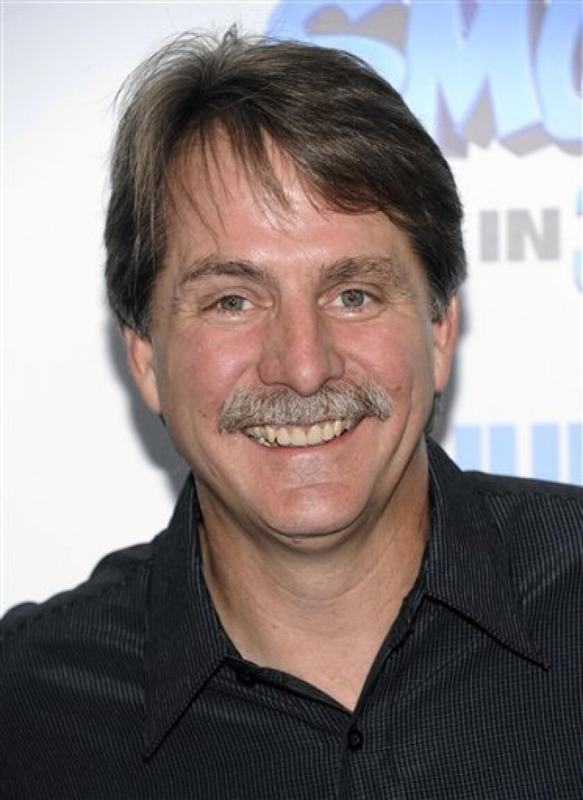 FILE - In this Sunday, July 24, 2011 file photo, comedian Jeff Foxworthy attends the premiere of 'The Smurfs' at the Ziegfeld Theatre  in New York. Jeff Foxworthy has often used turned to NASCAR for comic fodder. Now, he's thrilled to be doing business with the good ol' boys. Jeff Foxworthy's Grit