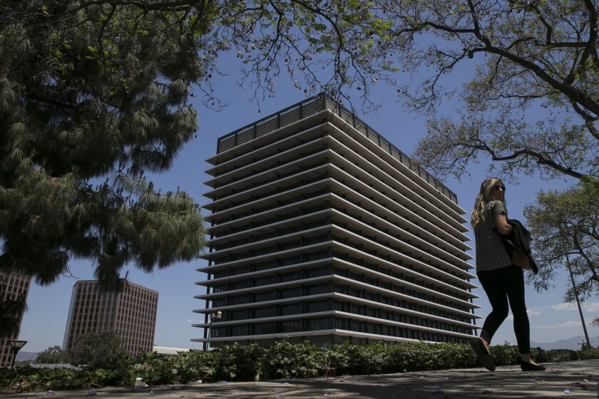 The Los Angeles Board of Water and Power Commissioners has cleared the way for the city to impose stricter limts on outdoor watering, if conservation efforts fall short. Above, DWP headquarters in downtown Los Angeles.