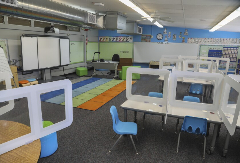 A classroom is set up at Lafayette Elementary School on Oct. 13 in San Diego.