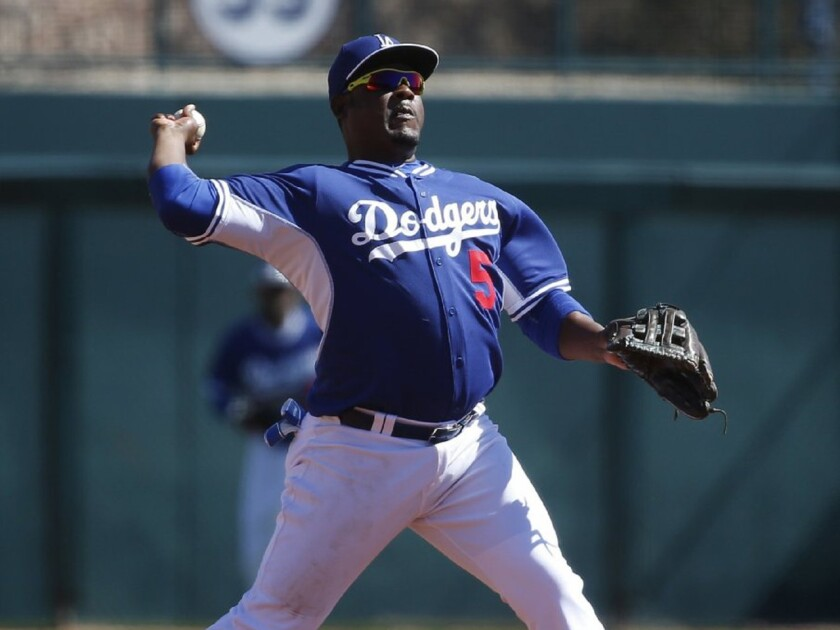 Dodgers third baseman Juan Uribe throws across the diamond during spring training.