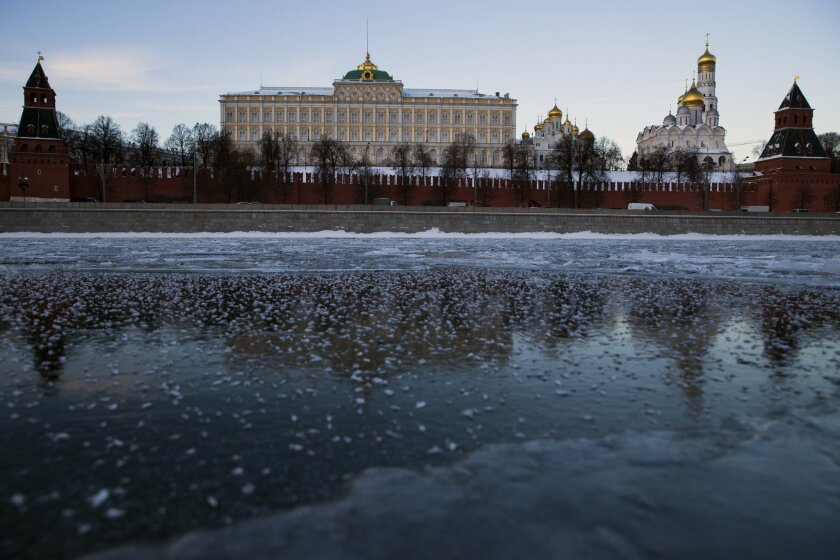 The frozen Moscow River and the Kremlin beyond in central Moscow.