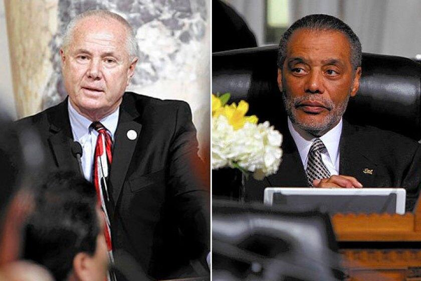Councilmen Tom LaBonge, left, and Bernard C. Parks.