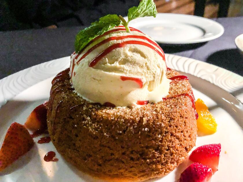 The warm butter cake at Mastro's in Beverly Hills.