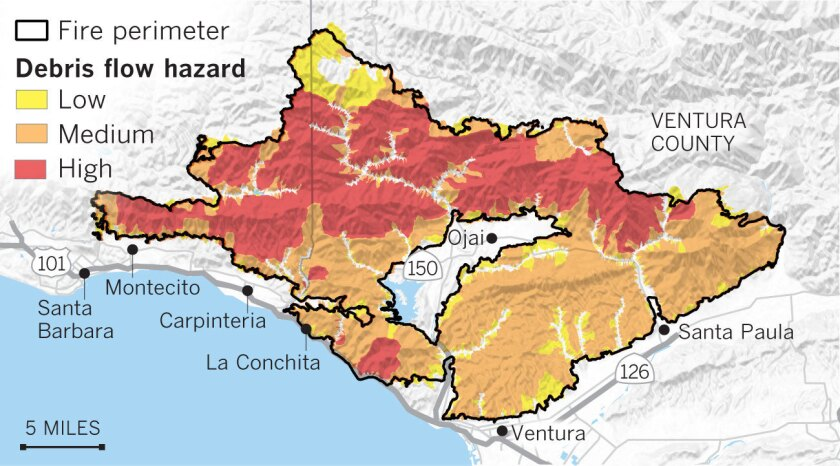 thomas fire map carpinteria Maps Show The Mudslide And Debris Flow Threat From The Thomas Fire