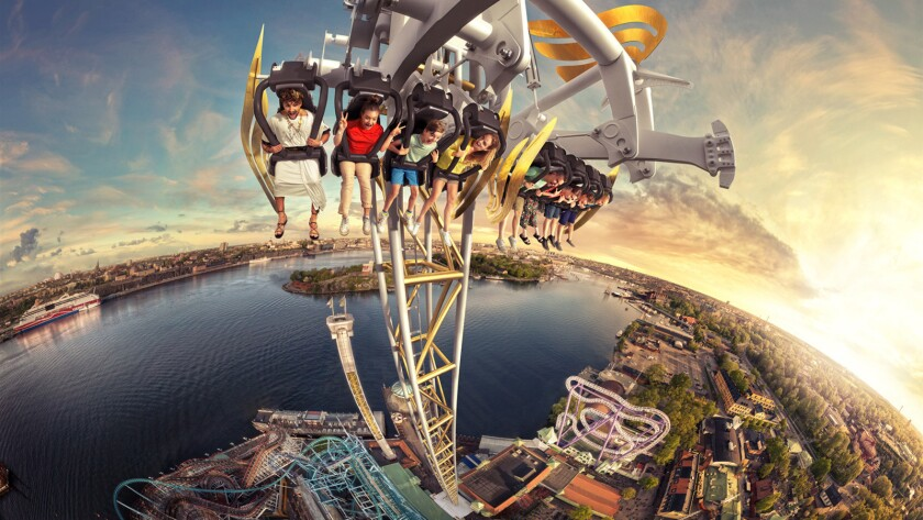 Concept art of the Ikaros drop tower coming to Sweden's Grona Lund theme park in 2017.