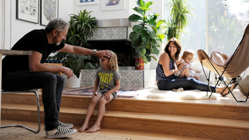 The Smith family at home in Venice. From left: Brian Smith, co-founder of Winc wine club, son Nico, Gina Nigrelli-Smith and daughter Ruby.