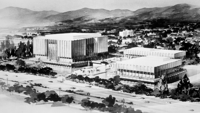 The 1964 concept art for William L. Pereira & Associates' Los Angeles County Museum of Art, before the ill-fated Hardy Holzman Pfeiffer addition along Wilshire Boulevard largely closed off the campus from the street.