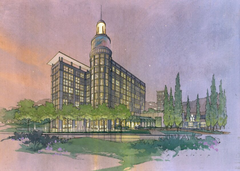 The proposed 10-story office building at the U-T San Diego headquarters would be topped by a Times Square-like video screen and a lighthouse-like beacon. The building would replace the current vehicle maintenance facility.