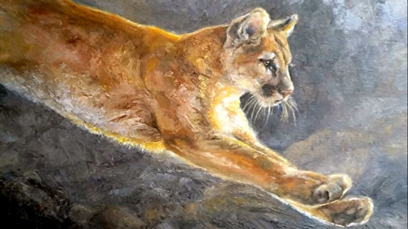 """""""Leap of Faith by Gayle Rene."""" """"Highway 2: The Journey and the Destination,"""" an art show on display"""